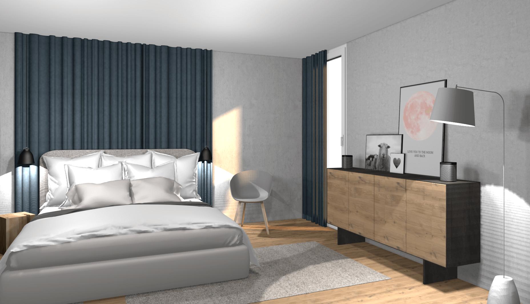 Schlafzimmer Konzept mit Einkaufsliste wohnly